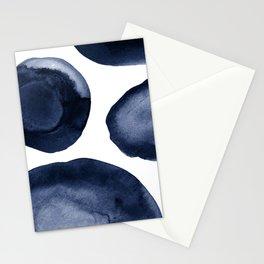 Indigo Watercolor Circles Stationery Cards