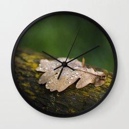 Water droplets on a crisp leaf Wall Clock