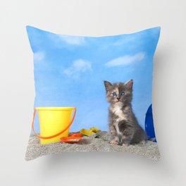 Kitten Fun in the Sun Beach Time Throw Pillow