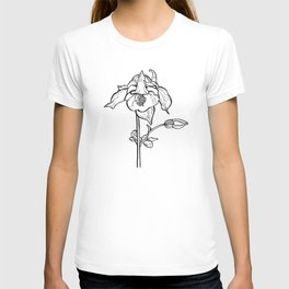Garden Flower Ink Drawing  T-shirt