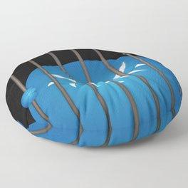 Blue Evil Monster Captured Floor Pillow
