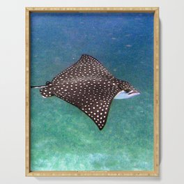 Watercolor Ray, Spotted Eagle Ray 41, St John, USVI Serving Tray