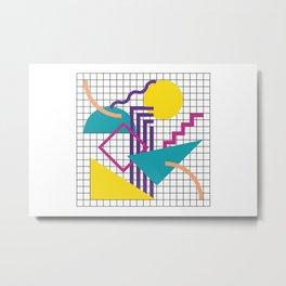 Memphis Pattern - 80s Retro White Metal Print
