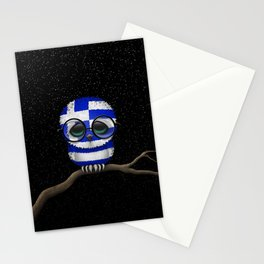 Baby Owl with Glasses and Greek Flag Stationery Cards