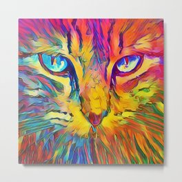 Neon Rainbow Cat Metal Print