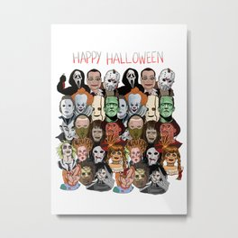 Happy Halloween Movie Characters  Metal Print