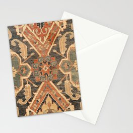Geometric Leaves III // 18th Century Distressed Red Blue Green Colorful Ornate Accent Rug Pattern Stationery Cards