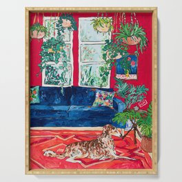 Red Interior with Borzoi Dog and House Plants Painting Serving Tray