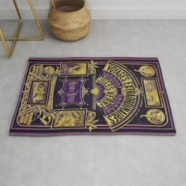 Jules Verne Voyages Extraordinaire Purple Lithographic Print by Jeanpaul Ferro Rug