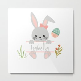 Cute little girl easter bunny with Isabella Metal Print