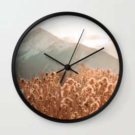 Golden Wheat Mountain // Yellow Heads of Grain Blurry Scenic Peak Wall Clock