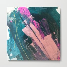 Wild [5]: a vibrant, bold, minimal abstract piece in teal, pink, and green Metal Print