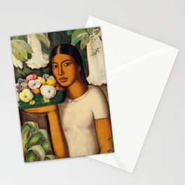 Mujer con Fiores (Bell Flowers, Dahlia & Calla Lilies) Flower Seller portrait by Alfredo Martinez Stationery Cards