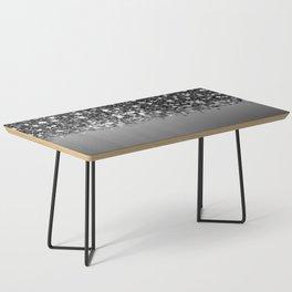 Black & Gunmetal Gray Silver Glitter Ombre Coffee Table