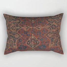 Boho Chic Dark V // 17th Century Colorful Medallion Red Blue Green Brown Ornate Accent Rug Pattern Rectangular Pillow
