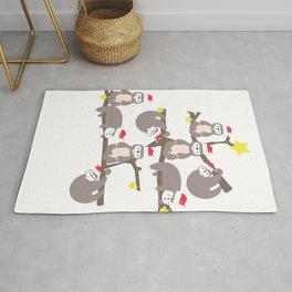 Merry Christmas Sloth Christmas Tree Santa Hat print Rug