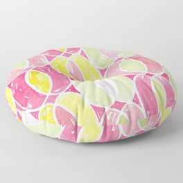 Geometric Watercolor Ovals Pattern | Original Pink, Green and Yellow Floor Pillow