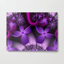 Purple Fantasy Flowers Fractal Metal Print