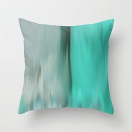 Modern abstract gray mint green teal brushstrokes ikat Throw Pillow