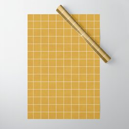 Small Grid Pattern - Mustard Yellow Wrapping Paper