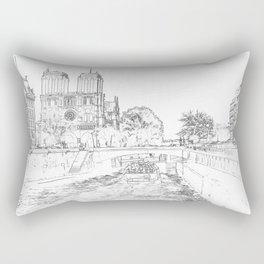 Illustration of Notre Dame de Paris Rectangular Pillow