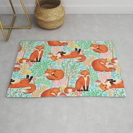 Little Foxes in a Fantasy Forest on Blue Rug