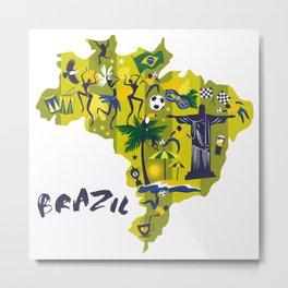 Brazil Map Christ Brazilian Culture Soccer Mural Metal Print
