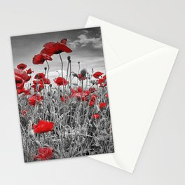 Idyllic Field of Poppies with Sun Stationery Cards