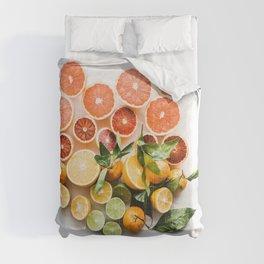 Lemon orange leaf Comforters