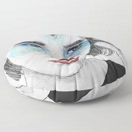 Third eye girl sketch Floor Pillow