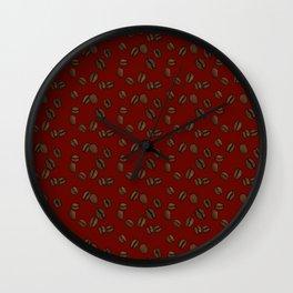 Coffee Beans - Crimson Wall Clock