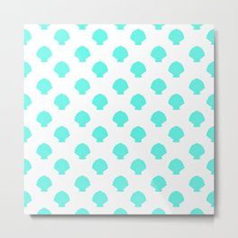 Seashells (Turquoise & White Pattern) Metal Print