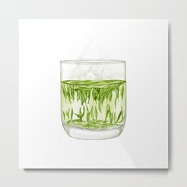 Watercolor Illustration of A glass of Chinese Maojian green tea Metal Print
