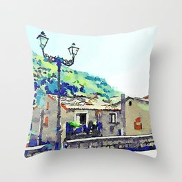Low wall buildings and lamppost Throw Pillow