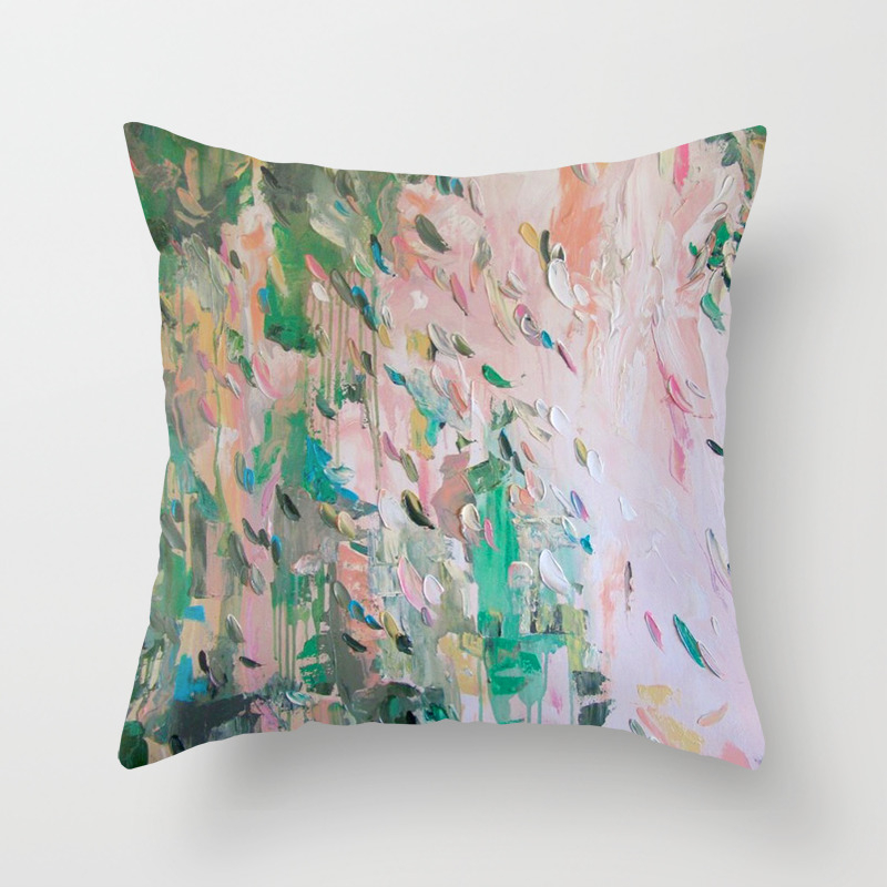 abstract emerald green pink throw pillow by tatgeorgieva