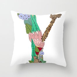 Floral Letter Y Throw Pillow