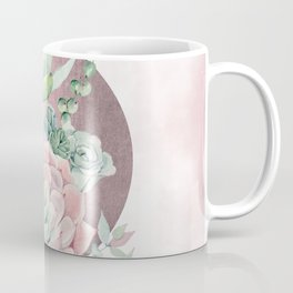 Pink Succulents Rose Gold Sun Blush Pink Coffee Mug