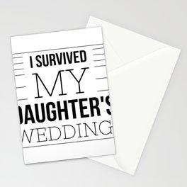 Wedding Humor I Survived Quote Father Mother Bride Funny   Stationery Cards