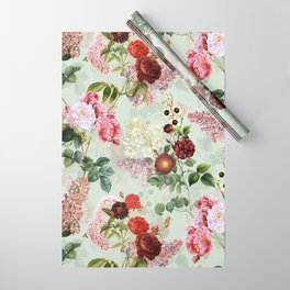Antique Vintage Botanical Roses Garden Wrapping Paper