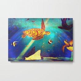 Beautiful Sea Turtles Under The Ocean Painting Metal Print