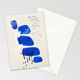 Fun Mid Century Modern Abstract Minimalist Phthalo Blue Stacked Pebbles Indigenous Art Stationery Cards