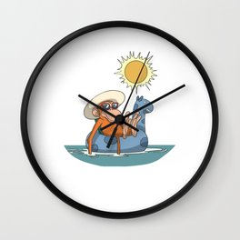 Monkey in the pool with floating tire Wall Clock