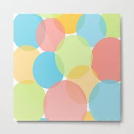 Modern Circle Pattern Bubbles in Muted Colors Metal Print