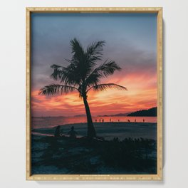 palmtrees and sunsets at tropical beach - colorful travel print  Serving Tray