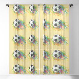 Football soccer sports colorful graphic design Sheer Curtain