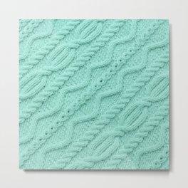 Seafoam Mint Cableknit Metal Print