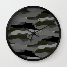Camo-licious Collection: Classic Gray & Black Camouflage Pattern Wall Clock