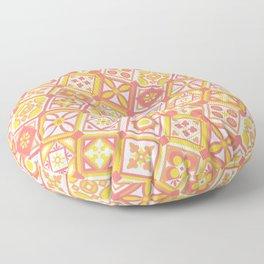 Happy Sunny Boho Tiles Pattern Floor Pillow