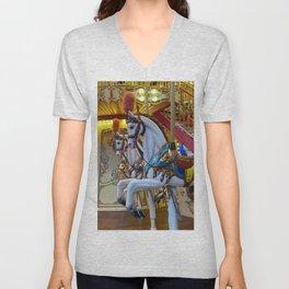 Vintage Carousel Horses Unisex V-Neck