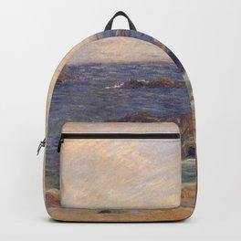 """Paul Gauguin - Seascape """"Rochers au bord de la mer"""" or """"La Côte rocheuse"""" (1886) Backpack"""